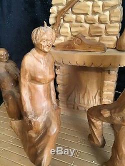 Vintage Sculpté À La Main En Bois Folk Art G. Fortin Figural Sculpture Famille Lampe De Table