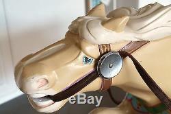 Vintage Sculpté En Bois Massif Carrousel Rocking Horse Peint Folk Art Main