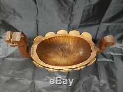 Vintage Suédoise En Bois Sculpté À La Main Ahrneberg Viking Ship Bowl Scandinavie Folk Art