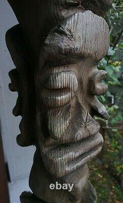 Vintage Tiki Style Carved Wood Faces Folk Art Red Cedar Totem 24 Polynésien