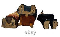 Vintagelot De 3 Figurines Sculptées En Bois D'art Populaire Suédois/gunnarson