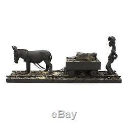 Vtg 22 Coal Miner Withdonkey Panier American Long Folk Art Sculpture Sculpture En Bois