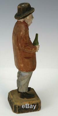 Vtg À La Main En Bois Sculpté En Bois Vieil Homme Avec Bouteille Hobo Figure Québec Canada Folk Art