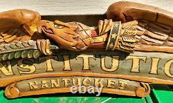 Vtg Bellamy Folk Art Peint À La Main Bois Sculpté Eagle Americana Yacht Nom Plaque