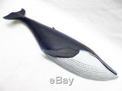 Vtg Clark Voorhees Blue Whale Décorations Art Bois Sculpté À La Main Folk 18 Vermont