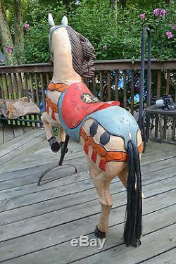 Vtg De Style Sculpté À La Main En Bois Peint Carrousel Carnaval Horse Folk Art Déco