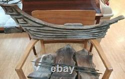Vtg Grand Navire En Cèdre Sculpté Avec 3 Voiles Folk Art Witco Années 1960 Patina 3'×2' Tiki
