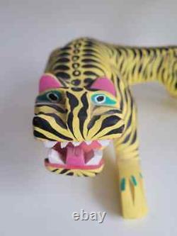 Vtg Large Pouncing Tiger Oaxacan Alebrije Sculpture En Bois Sculpté Art Populaire Mexicain