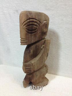 Vtg Main Sculptée Bois Hawaïen Fertilité Pénis Tiki Dieu Folk Art Figurine Statue