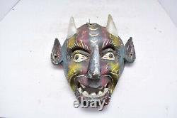Vtg Mexican Folk Art Carved Wood Mask Diablo Oaxaca México Jour Du Diable Mort