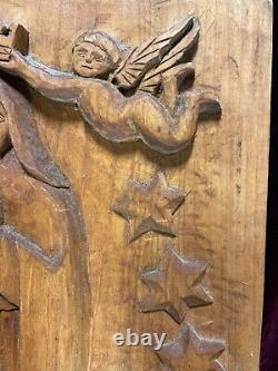 Vtg. Sculpture Primitive De Mur Primitif D'art Populaire De Bois Sculpté À La Main