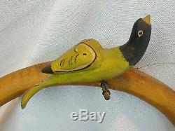 Walter Et Juin Gottshall Folk Art En Bois Sculpté Oiseaux Et Coeur Tenture Art