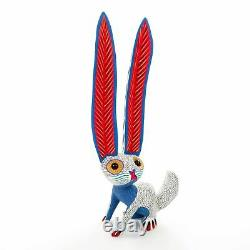 White Rabbit Oaxacan Alebrije Wood Carving Mexican Art Sculpture Painting
