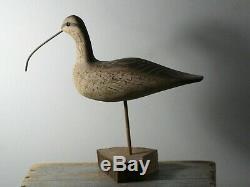 William Kirkpatrick Courlis Shorebird Art Populaire Sculpté Bois Decoy Signé Wek