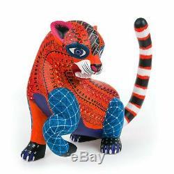 Zapotèques Jaguar Oaxacan Alebrije Sculpture Sur Bois Fine Mexican Folk Art Sculpture